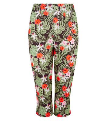 Just Curvy Black Tropical Floral Crop Trousers New Look