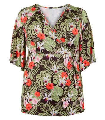Just Curvy Black Tropical Floral Wrap Top New Look