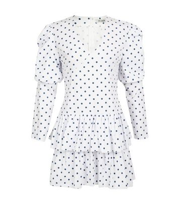 Click to view product details and reviews for Gini London White Spot Long Sleeve Dress New Look.
