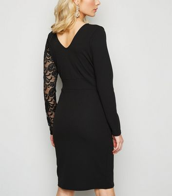 Miss Figa Black Asymmetric Lace Wrap Dress New Look