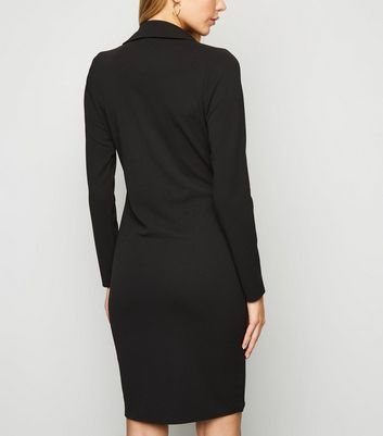 Missfiga Black Long Sleeve Blazer Dress New Look