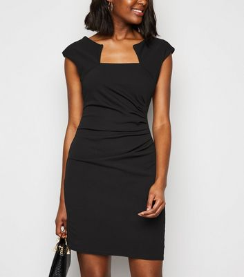 Missfiga Black Cap Sleeve Ruched Bodycon Dress New Look