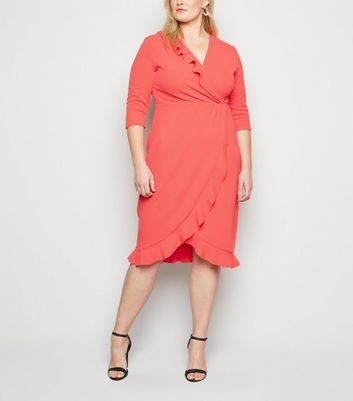 Just Curvy Coral Frill Wrap Dress New Look