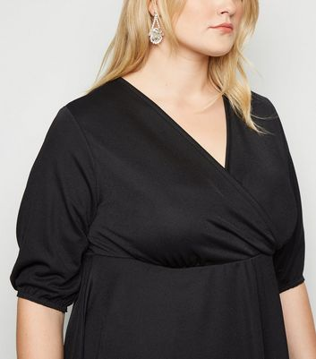 Just Curvy Black Asymmetric Wrap Top New Look