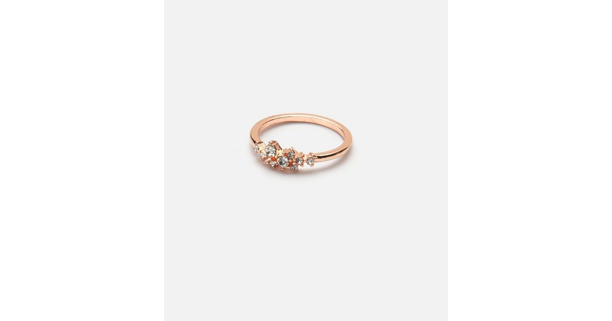 Rose Gold Diamante Ring New Look