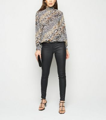 Cameo Rose Black Animal Print Shirred Blouse New Look