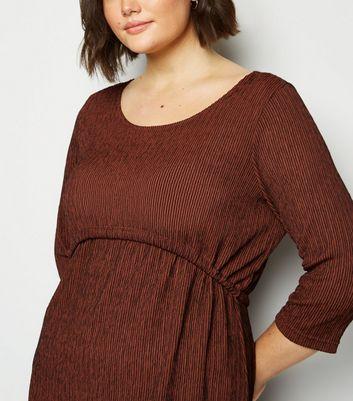 Vero Moda Curves Burgundy Stripe Textured Dress New Look