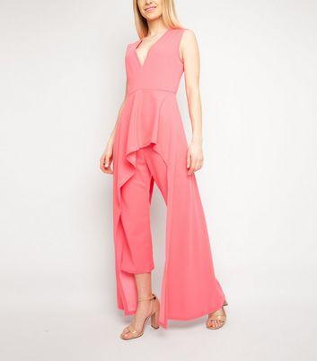 Miss Attire Bright Pink Ruffle Jumpsuit New Look
