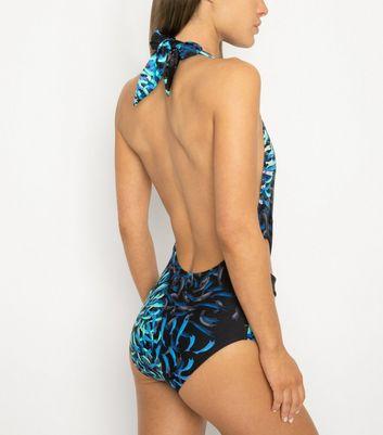 Black Velvet Blue Brushstroke Plunge Neck Swimsuit New Look