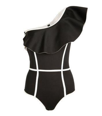 Black Velvet Black Ruffle One Shoulder Swimsuit New Look