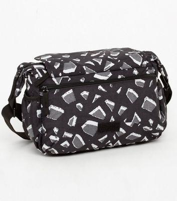 Artsac Black Geometric Print Cross Body Bag New Look