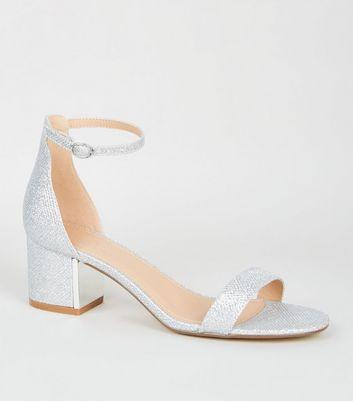 Silver Glitter Low Block Heel Sandals