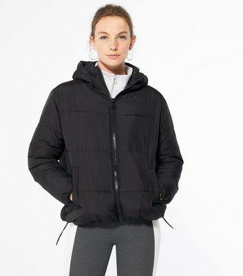 Black Hooded Boxy Puffer Jacket
