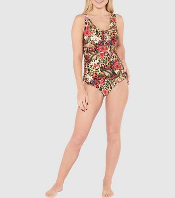 Beachcomber Multicoloured Lace Up Swimsuit New Look