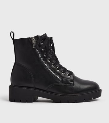 chunky lace up biker boots