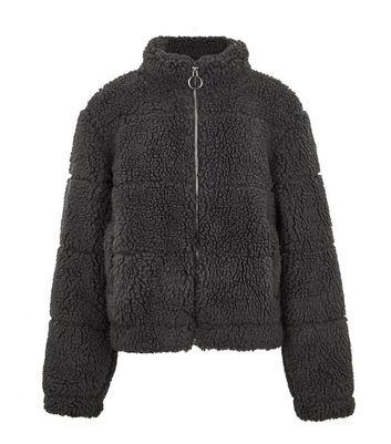 Girls Dark Grey Teddy Puffer Jacket