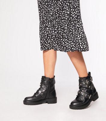 Wide Fit Black Gem Buckle Lace Up Boots