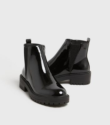 Girls Black Patent Chunky Chelsea Boots