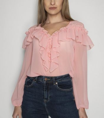 21st Mill Pink Frill Chiffon Blouse New Look