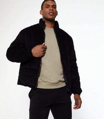shop for Men's Black Cord Puffer Jacket New Look at Shopo