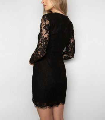 Love My Style Black Lace Long Sleeve Dress New Look