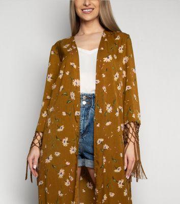 Love My Style Orange Floral Tassel Kimono New Look