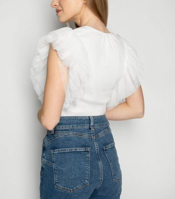 JUSTYOUROUTFIT White Ruffle Mesh Sleeve Top New Look