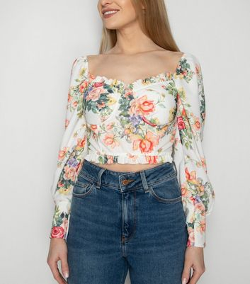 JUSTYOUROUTFIT White Floral Puff Sleeve Top New Look