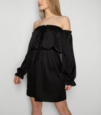 JUSTYOUROUTFIT Black Puff Sleeve Bardot Dress New Look