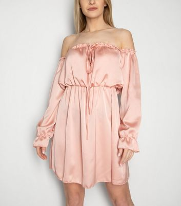 JUSTYOUROUTFIT Pale Pink Puff Sleeve Bardot Dress New Look