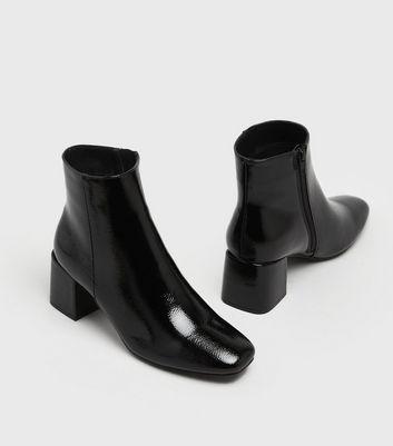 Black Crinkle Patent Block Heel Ankle
