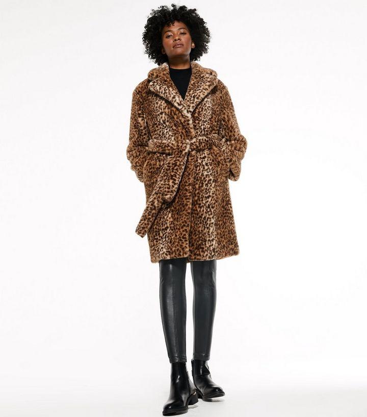 Brown Leopard Print Faux Fur Long Coat