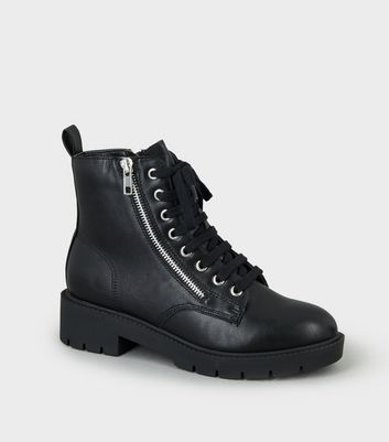 Girls Black Chunky Lace Up Boots | New Look