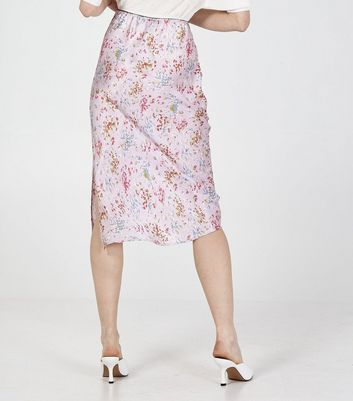 Click to view product details and reviews for Blue Vanilla Pink Floral Side Split Midi Skirt New Look.