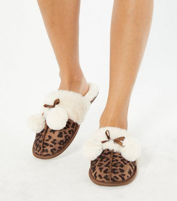 shop for Stone Leopard Print Faux Fur Lined Mule Slippers New Look Vegan at Shopo