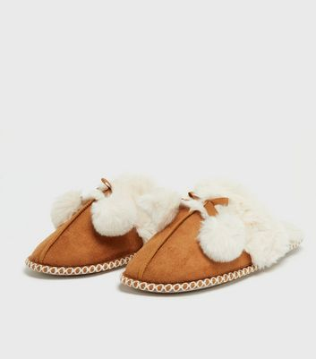shop for Tan Suedette Faux Fur Lined Mule Slippers New Look Vegan at Shopo