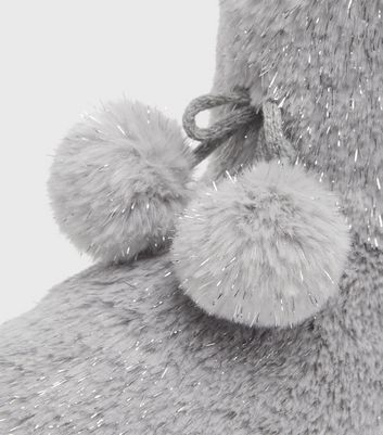 shop for Grey Faux Fur Pom Pom Boot Slippers New Look Vegan at Shopo