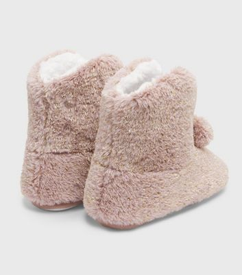 shop for Pink Faux Fur Pom Pom Boot Slippers New Look Vegan at Shopo