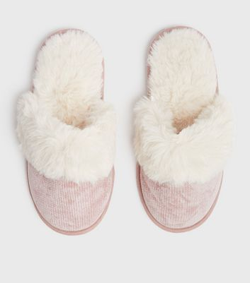 shop for Pink Chenille Faux Fur Mule Slippers New Look Vegan at Shopo