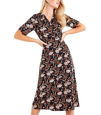 Mela Black Floral Kimono Midi Wrap Dress New Look