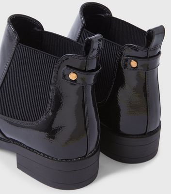 Black Patent Flat Chelsea Boots | New Look