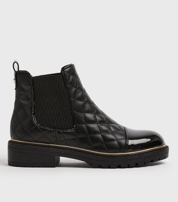 Black Quilted Patent Toe Chelsea boots