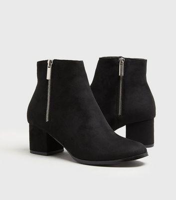 Girls Black Suedette Block Heel Ankle
