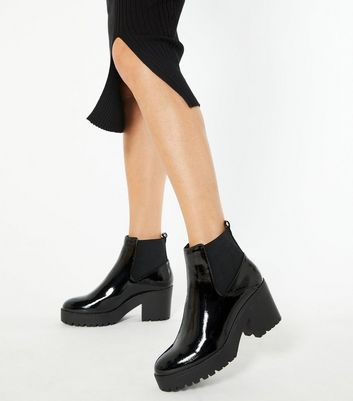 Black Patent Chunky Chelsea Boots   New