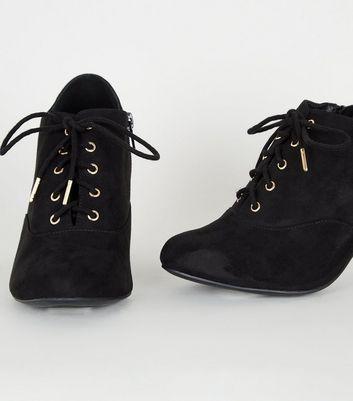 Wide Fit Black Suedette Lace Up Shoe