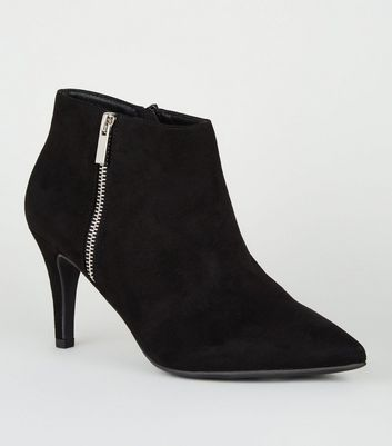 shop for Wide Fit Black Suedette Zip Side Stiletto Boots New Look Vegan at Shopo