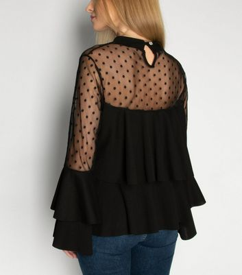 JUSTYOUROUTFIT Black Spot Mesh Tiered Top New Look