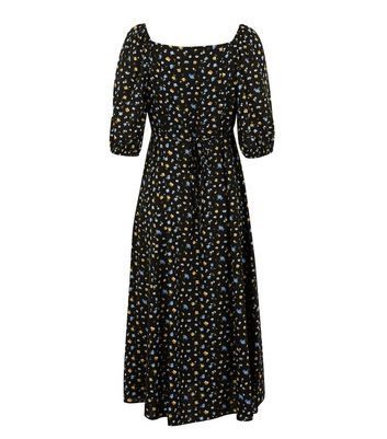 Click to view product details and reviews for Black Floral Square Neck Tie Back Midi Dress New Look.
