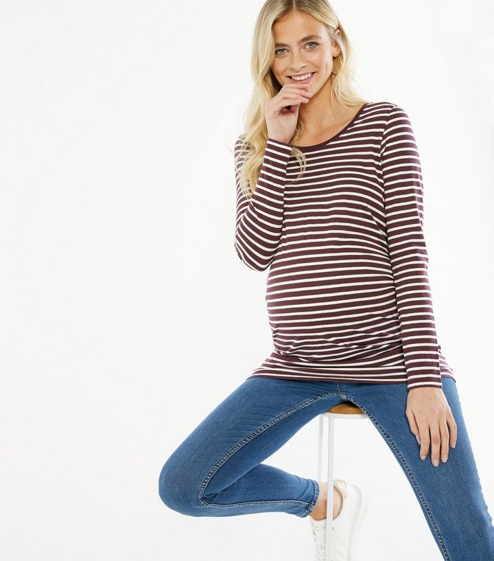 Maternity Red Stripe Long Sleeve Top