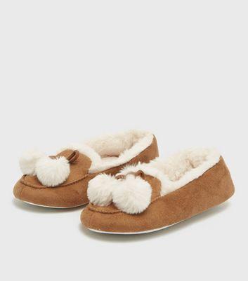shop for Tan Suedette Faux Fur Pom Pom Slippers New Look Vegan at Shopo